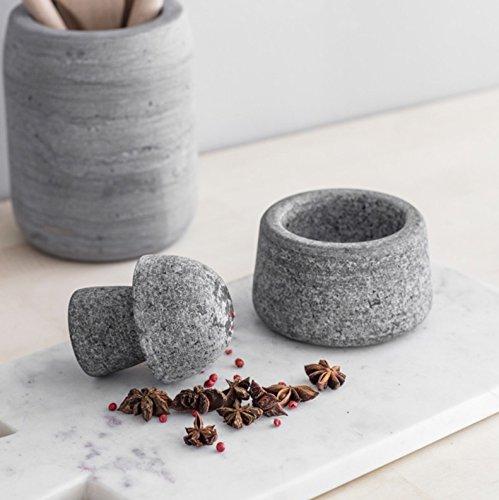 CKB Ltd® Granit Mörser und Stößel Spice Crusher Set Gewürz Kräuter Samen Salz und Pfeffer Crusher Schleifstifte Mahlwerk natur aus traditionellem Steinzeug Küche Kochen Werkzeug-Granit -