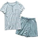 Damen Schlafanzug Pyjama Shorty Mit Shorts Sommerlicher Nachthemd mit Taschen Nachtwäsche Kurzarm Sleepwear Grün 2XL