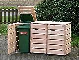 3er Mülltonnenbox / Mülltonnenverkleidung 120 L Holz, Douglasie Natur