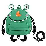 GAGAKU Mini Kinderrucksack mit Brustgurt 3D Tier Cartoon Kinder Rucksack für Mädchen Junge Alter 1-3 Jahre - Grün