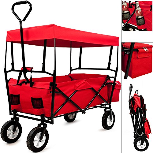 Bollerwagen Handwagen Gerätewagen Gartenwagen Strandwagen faltbar mit abnehmbarem Dach in Rot