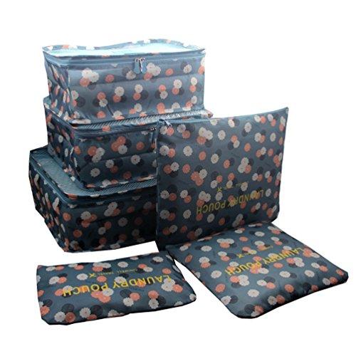 Samtaiker Kleidertaschen 6 Stück Set-3 Verpackungs Würfel+3 Beutel Kompresse Ihre Kleidung in Koffer Wäschebeutel während der Reise (Blue Daisy) (Nylon-gepäck-set 3 Stück)