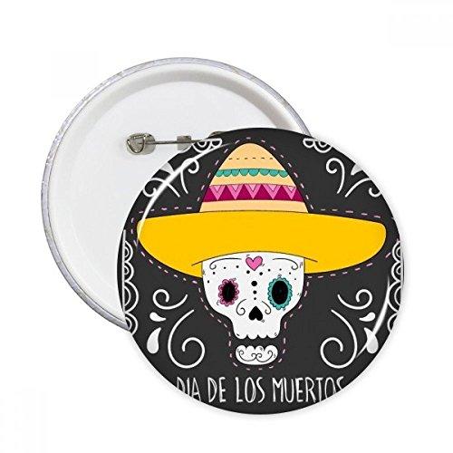 DIYthinker Hat Flower Heart-Shaped Schädel Mexiko Glücklich Der Tag der Toten Runde Stifte Abzeichen-Knopf Kleidung Dekoration Geschenk 5Pcs XXL ()