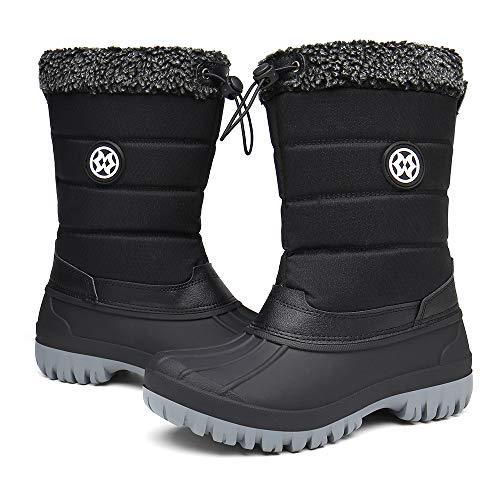 Womens Fur Lined Snow Boots Winter Warm Waterproof Ankle Boots Ladies Outdoor Durable Boots Shoes Size