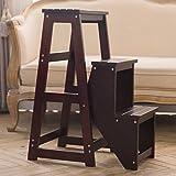 Step stools Fester hölzerner faltender Leiter/Treppen-Schemel/Haushalts-Leiter/Speicher-Leiter/Schritt-Schemel/Blumen-Stand, Multifunktionshaushalts-Klappstuhl (Farbe : Dark Walnut)