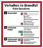 Schild Aushang 'Verhalten im Brandfall', 18x20cm, mit UV-Schutz, PVC-Aufkleber,...