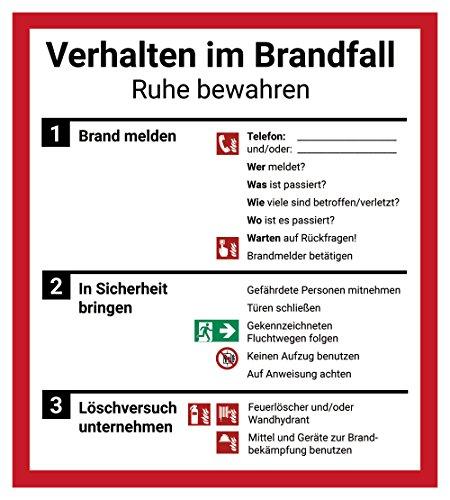 """Schild Aushang """"Verhalten im Brandfall"""", 18x20cm, mit UV-Schutz, PVC-Aufkleber, ISO 7010, Betriebsaushang Notfallplan"""