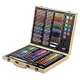 Conjunto Arte CONDA Deluxe en Maletín de Madera Para Niños o Adultos -Set Material Escolar – 126 piezas, incluye lápices de colores, pasteles de óleo, acuarelas, pinceles para pintar