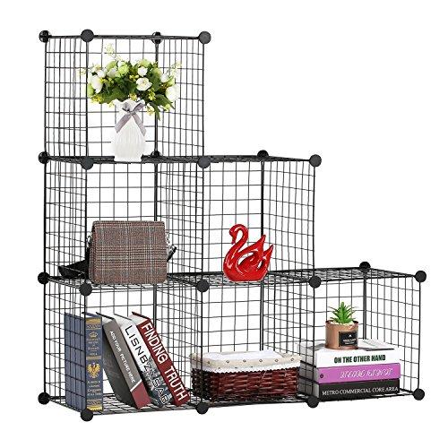 BASTUO Steckregal aus Drahtgitter DIY 6 Kubus Regalwürfel Bücherregal Aufbewahrung Schrank für Bücher, Kleidung, Spielzeug und Schuhe,Schwarz(110 x 37 x 110cm)