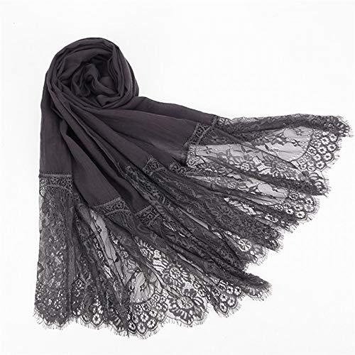 Hmeili Schals 1 Stück Spitze Kanten Schal Hijab Frau Plain Maxi Schal Wrap Blume Weiße Spitze Foulard Weiche Baumwolle Hijabs Schals -