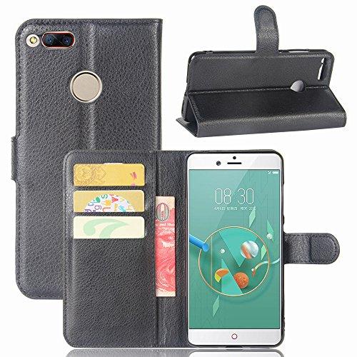 ZTE Nubia Z17 mini Handyhülle Book Case ZTE Nubia Z17 mini Hülle Klapphülle Tasche im Retro Wallet Design mit Praktischer Aufstellfunktion - Etui Schwarz