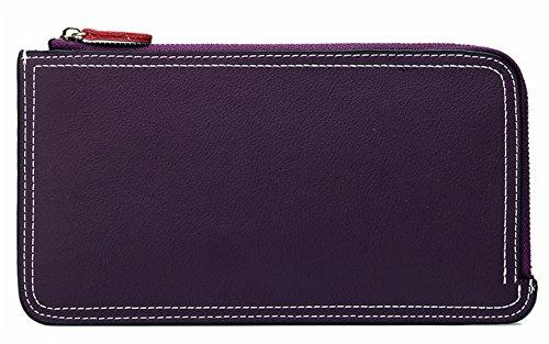 Xinmaoyuan Portafogli donna portafoglio in pelle Ladies lunga sezione di colore puro borsa a mano,blu Viola