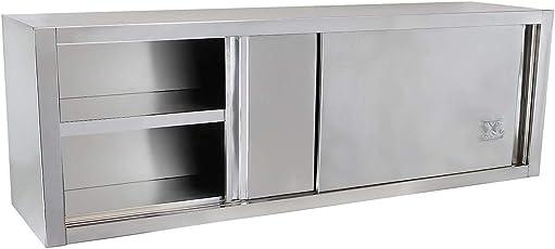 AuBergewohnlich Beeketal U0027BWS Serieu0027 Gastro Küchen Wandhängeschrank Aus Edelstahl Mit Auf  Rollen Gelagerten Schiebetüren,