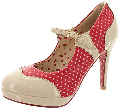 Dancing Days by Banned Riemchen Pumps Mary Jane BND008 Red-Nude Rot 38