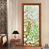Knncch Traditionelle Chinesische Stil Tür Aufkleber 77X200 Cm Bambus Wald Kunst Wohnkultur Tür Wandbild Selbstklebende Diy Tür Erneuern Tapeten