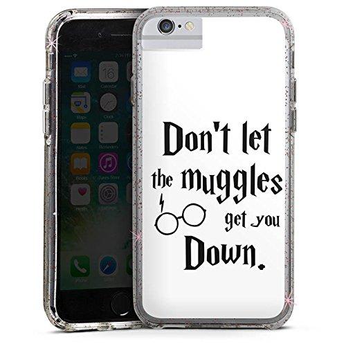 Apple iPhone 8 Bumper Hülle Bumper Case Glitzer Hülle Muggles Statement Harry Potter Bumper Case Glitzer rose gold