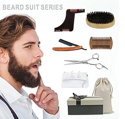 Idefair (TM) Beard Care Set Beard Shaping & Styling Tool Template 6 Pieces - Beard trimmer or Razor ,Official Beard Bib ,Wood Beard brush kit with Beard stencil for Styling, Shaping & Grooming Mustache and Beard Comb kit