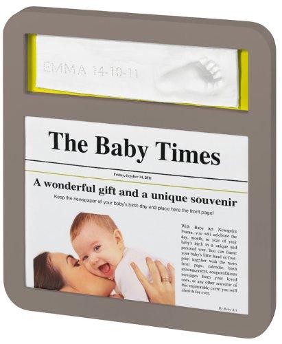 Baby Art Cadre Photo Modern NewsPrint Frame - Taupe / Violet-Lime