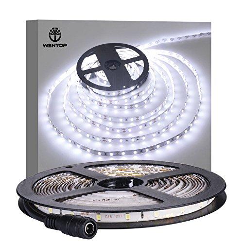 WenTop impermeabilizan las luces de tira llevadas SMD 3528 (5M) 300 LED 60leds / m refrescan las luces flexibles blancas de la cinta de la iluminación de la cuerda para la iluminación bajo del gabinete / la iluminación casera / la iluminación del dormitor