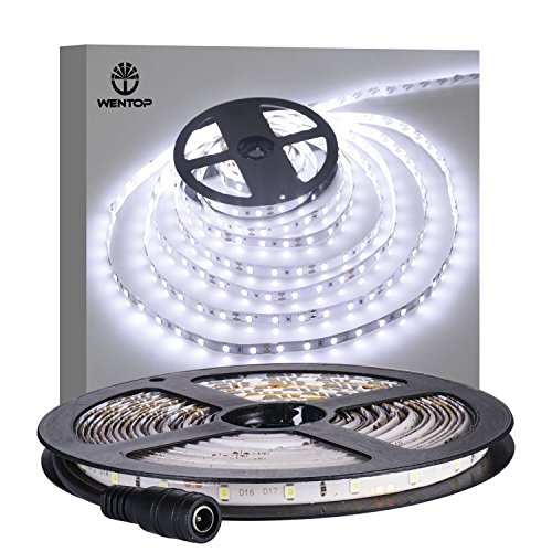 WenTop Tira LED,Led Blanco Tira,5m 3528 300 leds Tira LED De Luz,IP65 Impermeable Tira Led Luces,Luces Cocina,Iluminacion para TV - No contiene la fuente de alimentación
