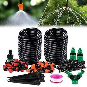 Kit de Riego por Goteo – Sistema de Riego por Bricolaje para Jardín Micro de 30m, Kit de Goteo para Riego de Tubos para…