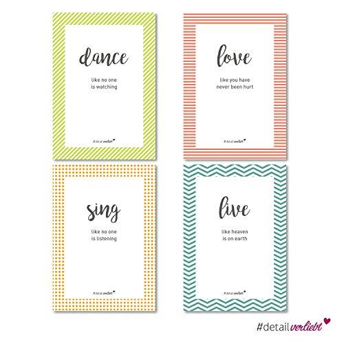 """Detailverliebt! 4 stylische Poster mit Sprüchen """"Dance, Love, Sing, Live"""" in DIN A 4, dv (Mädchen Cupcake Kostüme Kleinkind)"""