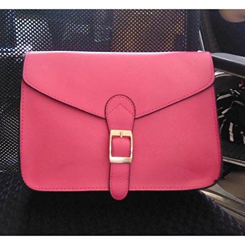 SODIAL(R) Cartella di alta qualita del sacchetto di spalla del sacchetto di busta dellannata di stile del sacchetto del messaggero delle donne giallo rosa scuro