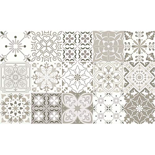 Ambiance-Live Alfombra Azulejos Sombras Gris Romeo