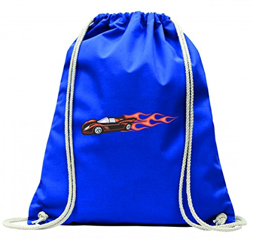 'Turn Bolsa 'Sport carro Hotrod con llamas rojas America Amy Estados Unidos Auto Car Lujo de ancho diseño V8V12Motor Llanta Tuning Mustang Cobra con cordón–100% algodón de bolsa Con Asas De Mochila de bolsa de deporte, azul