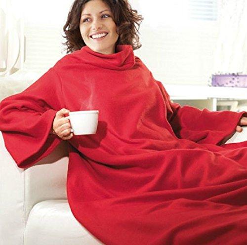 PREMIUM Kuscheldecke mit praktischen Ärmeln - perfekte Wärmeisolierung (140 x 180 cm) Rot - Ärmel Decke Ärmeldecke Fleece Wärmedecke Plaid (Decke Ärmeln)