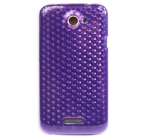 Luxburg® Diamond Design Schutzhülle für HTC One X / X+ in Farbe Amethyst Violett, Hülle Case aus TPU Silikon