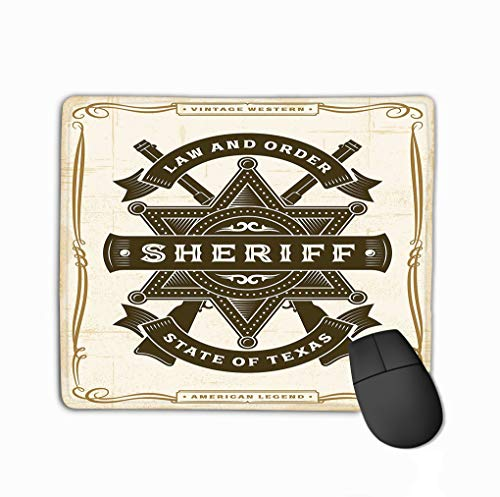 Mouse Pad Vintage Western Sheriff Label Vintage Western Sheriff Label Woodcut Style editable eps Rectangle Rubber Mousepad 11.81 X 9.84 Inch -