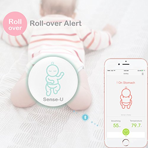(2018 New Model) Sense-U Baby Breathing & Rollover Movement Monitor with a Free Swaddle(Small, 0-3m, Grey): Alerts You for No Breathing, Stomach Sleeping, Overheating and Getting Cold  Sense-U