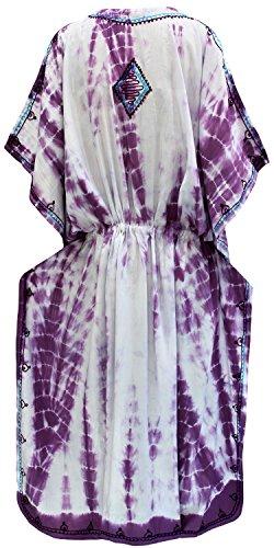 La Leela Frauen verschleiern tie dye Bademode Badebekleidung Rayon Nachtzeug Kaftan Multi Kleid Weiß