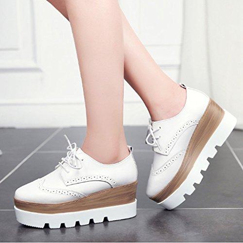 HWF Scarpe donna Scarpe con plateau con fondo spesso a molla Scarpe con tacco alto da donna stile inglese Scarpe da donna ( Colore : Bianca , dimensioni : 37 ) Bianca