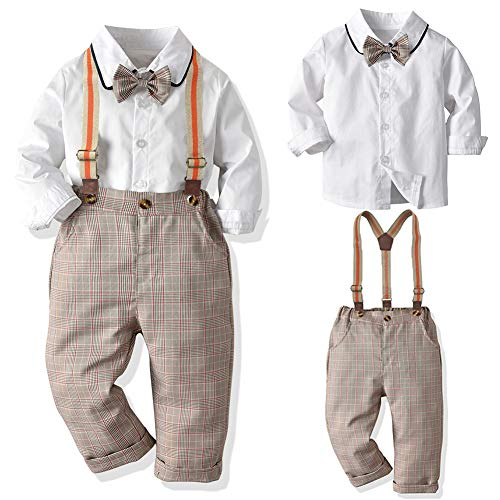 SANMIO Baby Jungen Bekleidungssets, Hemd + Hose + Fliege Krawatte Kinder Anzug, Braun, Gr.- Etikette 100/Körpergröße 90-100 CM