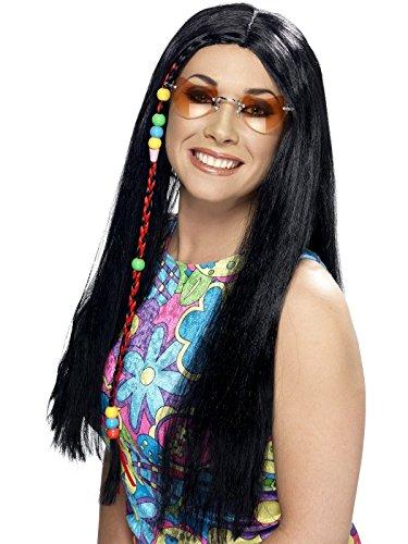 Hippie Party Perücke schwarz mit Strähne Flower Power (Jahren 60er Hippies Den Black In)