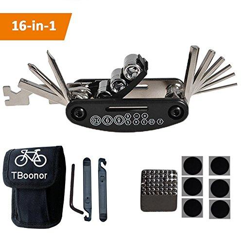 TBoonor Fahrrad-Multitool, 16-in-1 Fahrrad Werkzeug Multifunktionswerkzeug Fahrrad Reparatur Set Pocket Tool Multifunktions Werkzeug