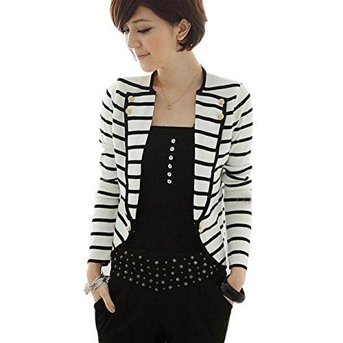 Fashion Womens Slim Fit Striped Blazer Jacket Short Blazer Suit Test