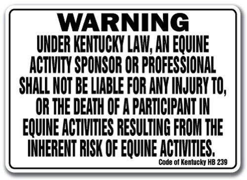Sinluen Zitat Aluminium Kentucky Equine Schild Aktivität Haftung Achtung Statut Pferd Farm Barn stabile Metall Geschenk Schild, Dekoration -