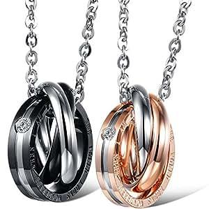 """JewelryWe Gioielli collana con pendente da uomo donna stupendo nero & Rose Gold acciaio inox Tri anello ciondolo per coppia catena lunga 18""""/20(con regalo borsa)"""