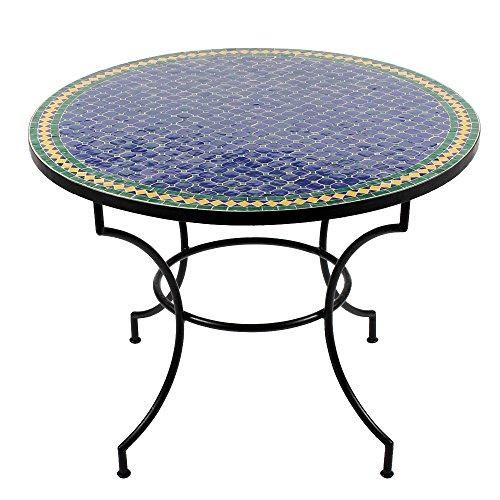 albena Marokko Galerie Marokkanischer Mosaiktisch ø 100cm Rund Gartentisch Fliesentisch Esstisch mediterraner Mosaik – Tisch