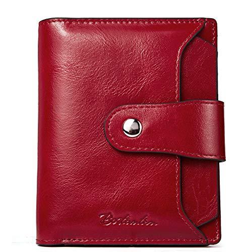 Echtes Leder Brieftasche Id Brieftasche (BOSTANTEN Damen Echtes Leder Geldbörsen RFID Slim Wallet 10 Kartenfächer Portemonnaie Kleingeldfach mit Reißverschluss Rot)