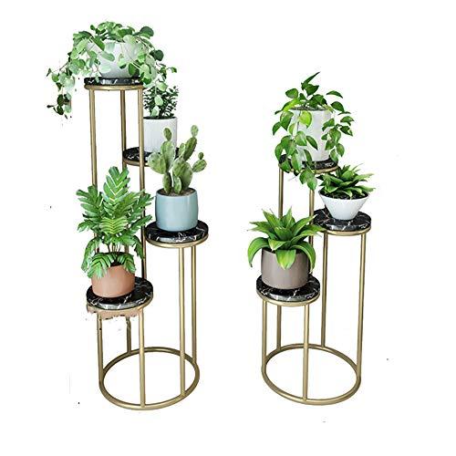 Xnrong Blumenständer Einfache Mode Innen Schmiedeeisen Marmor DREI-schichtige Grüne Blumentopf Rack Wohnzimmer Blumenladen Boden -