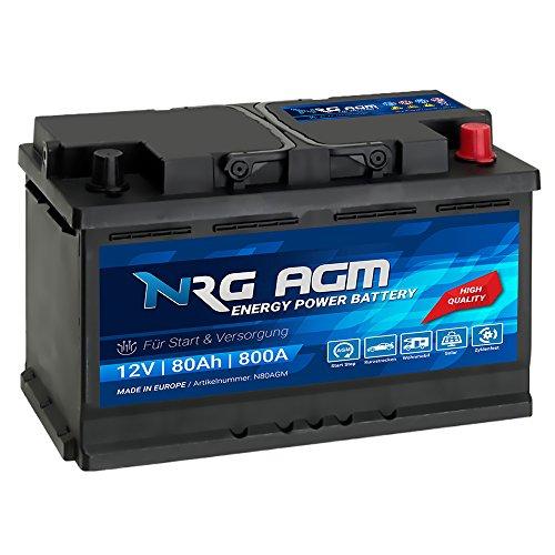 NRG AGM Autobatterie 80Ah 800A/EN 12V Start Stop Plus VRLA Batterie N80AGM