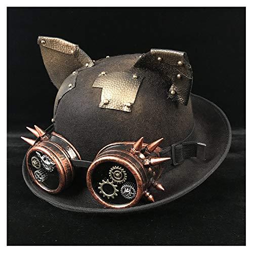 Beck Orlando Steampunk Melone Frauen Männer Brille Topper Hut Fedora Bräutigam Hut Pork Pie Hut (Farbe : Black JD, Größe : 57-58 cm)