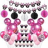 Jollyboom Decorazioni per Feste di Compleanno a Tema Minnie Decorazioni Palloncini Minnie Cupcake Topper Involucri per Il 1 ° 2 ° 3 ° Compleanno