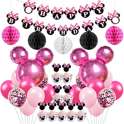 se Birthday Party Supplies Dekorationen Minnie Mouse Luftballons Cupcake Toppers Wrapper für Mädchen 1. 2. 3. Geburtstag ()