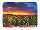MSGDF Sunflower Bath Mat, Field of Sunflowers Sunset Dramatic Sky with Clouds Scenic Picture, Plush Bathroom Decor Mat with Non Slip Backing, 23.6 W X 15.7 W Inches, Sky Blue Fern Green Amber