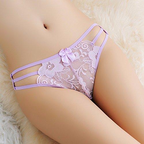 GQFGYYL Spitzen - transparente sexy versuchung, unterwäsche, Fliege, Lady t - Shirt,lila Farbe -